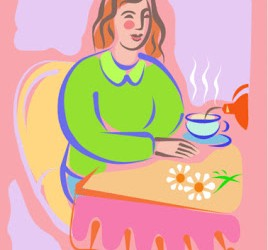 A woman drinking a hot cup of herbal tea